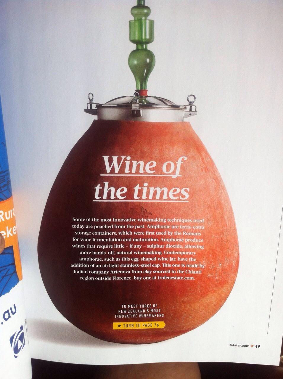 Artenova sulla rivista di una compagnia aera neozelandese.